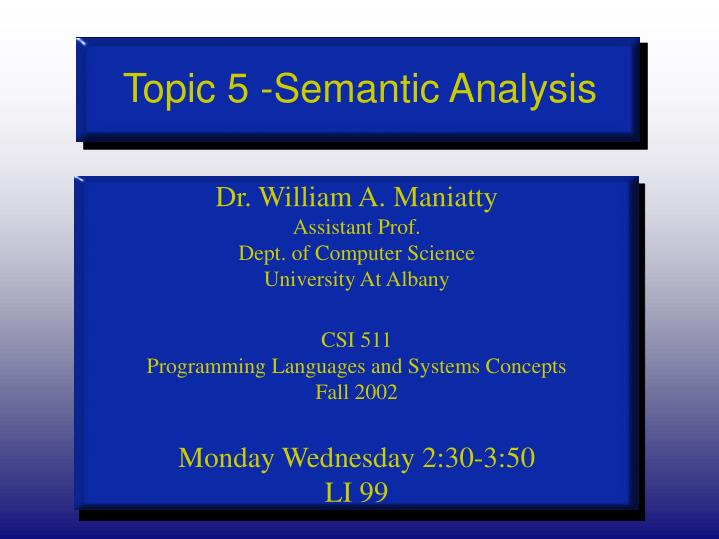 topic 5 semantic analysis n.