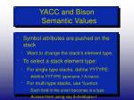 yacc and bison semantic values