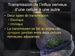 transmission de l influx nerveux d une cellule une autre