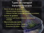 types de transport transmembranaire