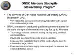 dnsc mercury stockpile stewardship program