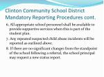 clinton community school district mandatory reporting procedures cont