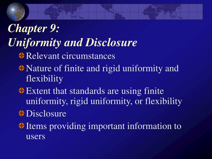 chapter 9 uniformity and disclosure n.