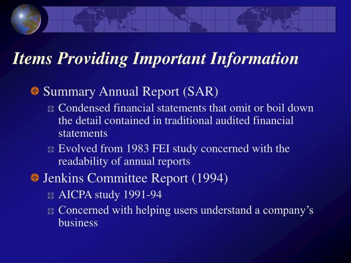 Items Providing Important Information