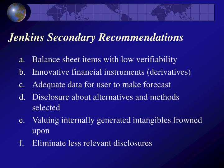 Jenkins Secondary Recommendations