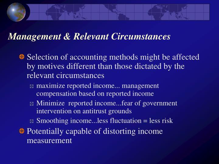 Management relevant circumstances