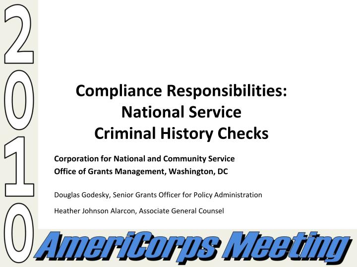 compliance responsibilities national service criminal history checks n.