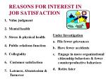 reasons for interest in job satisfaction