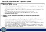 panel one capabilities and capacities system1