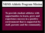nrms athletic program mission