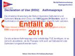 declaration of use dou asthmasprays