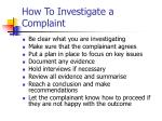 how to investigate a complaint