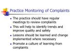practice monitoring of complaints