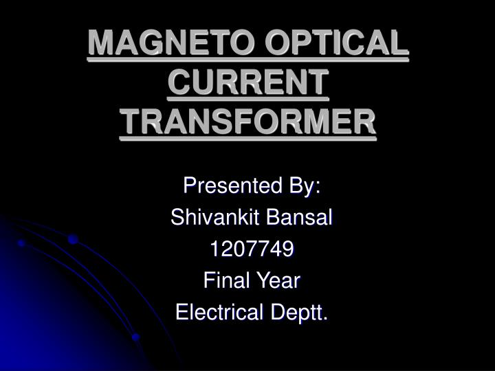 magneto optical current transformer n.