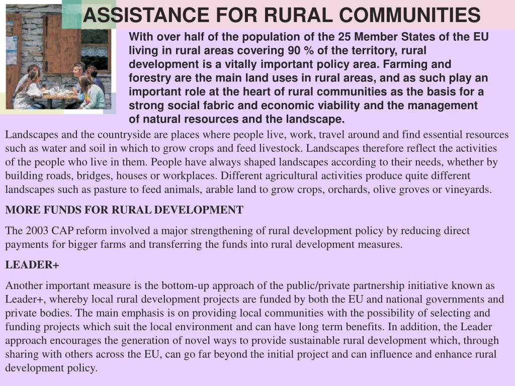 ASSISTANCE FOR RURAL COMMUNITIES