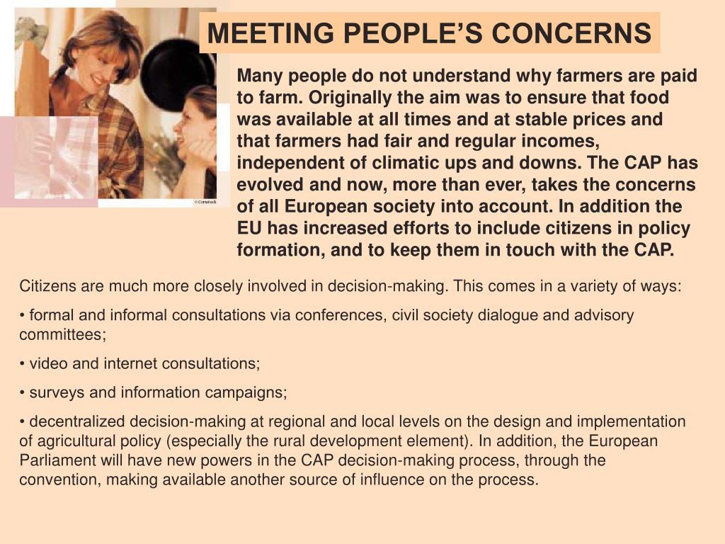 MEETING PEOPLE'S CONCERNS