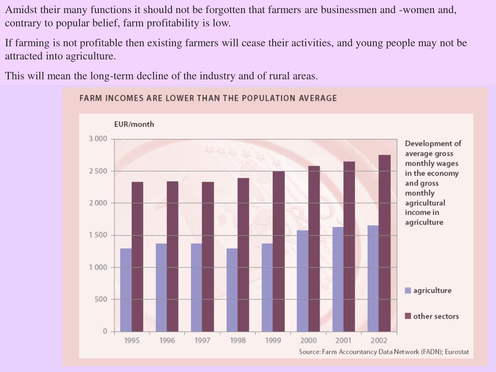 Amidst their many functions it should not be forgotten that farmers are businessmen and -women and, contrary to popular belief, farm profitability is low.