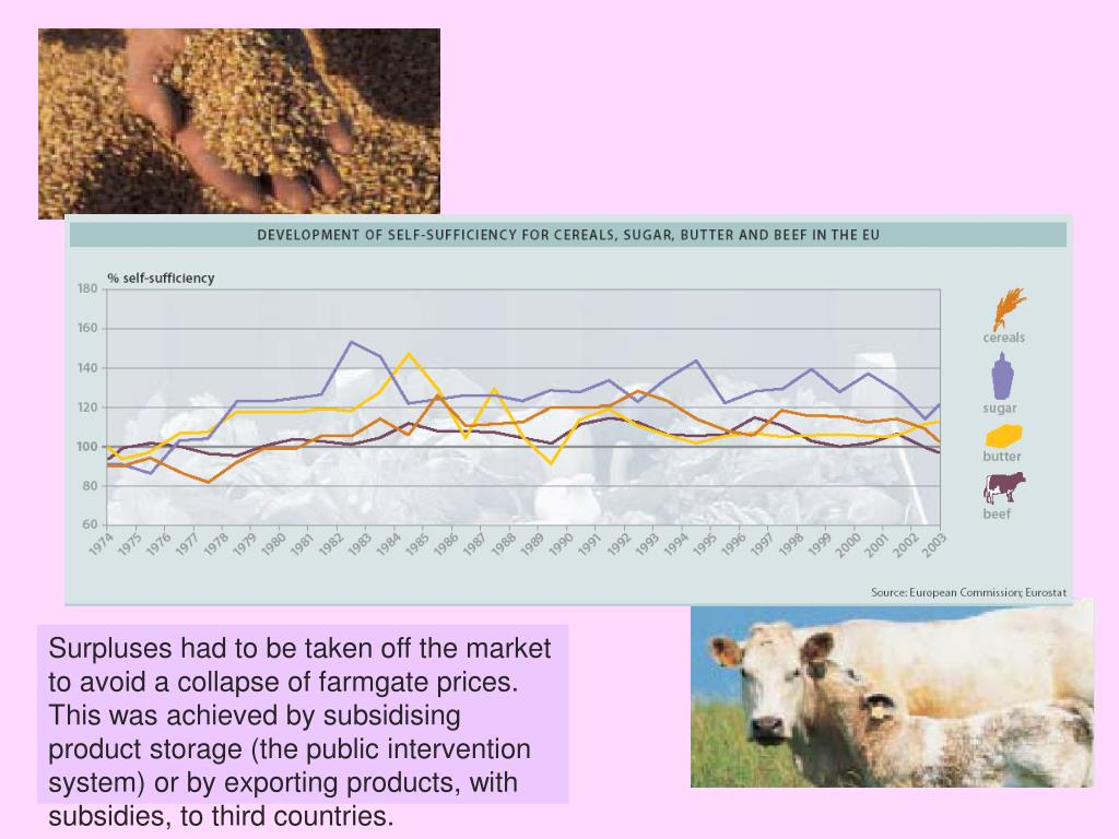 Surpluses had to be taken off the market to avoid a collapse of farmgate prices. This was achieved by subsidising product storage (the public intervention system) or by exporting products, with subsidies, to third countries.