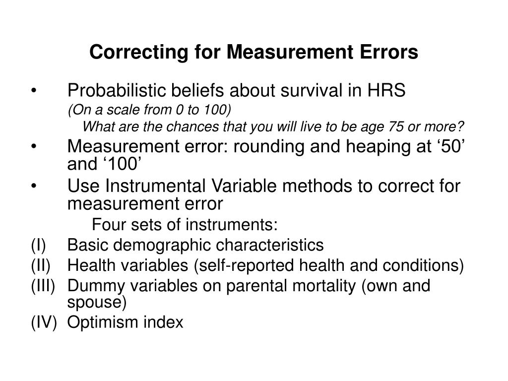 Correcting for Measurement Errors