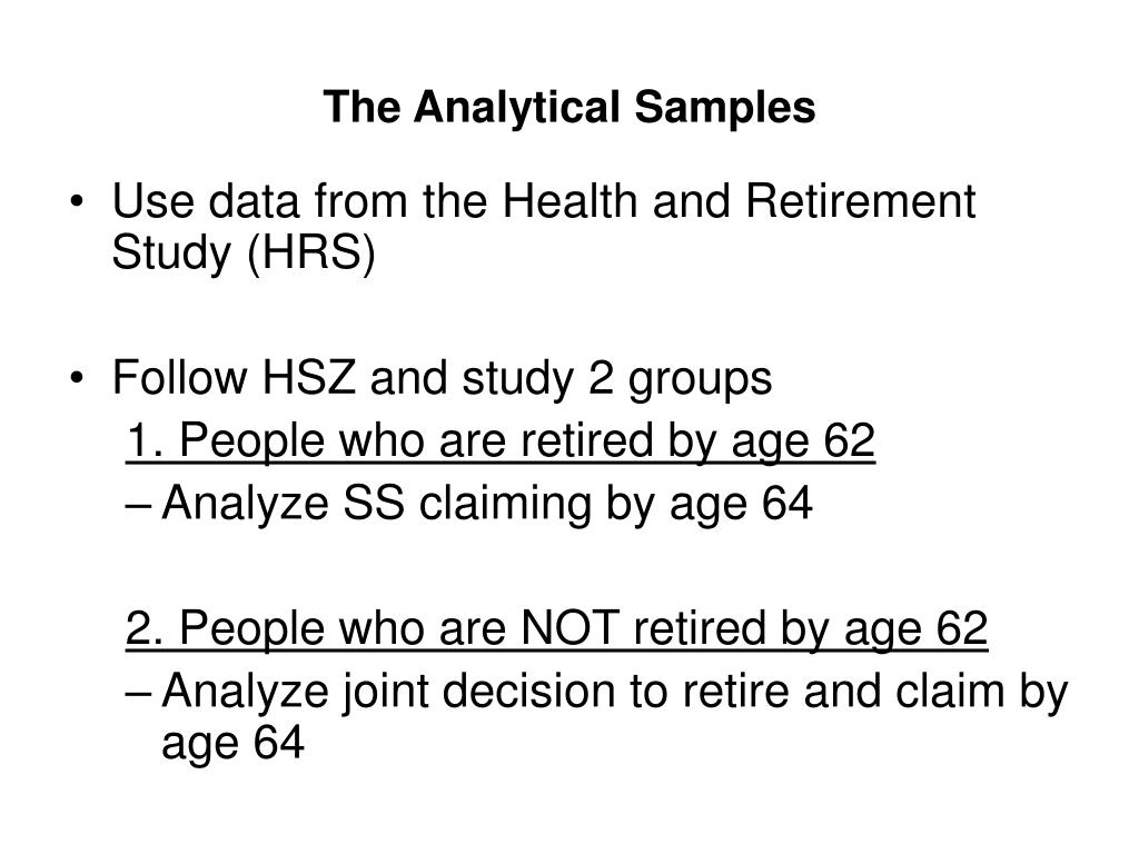 The Analytical Samples