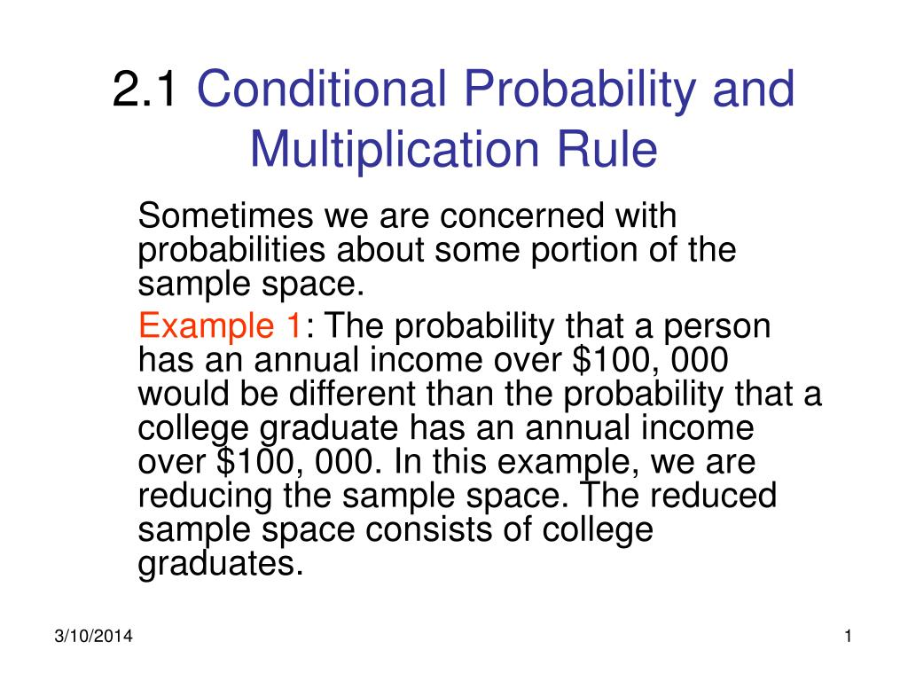 2 1 conditional probability and multiplication rule l.