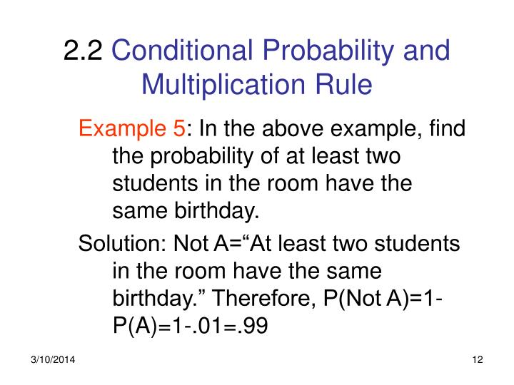 Ppt 21 Conditional Probability And Multiplication Rule Powerpoint