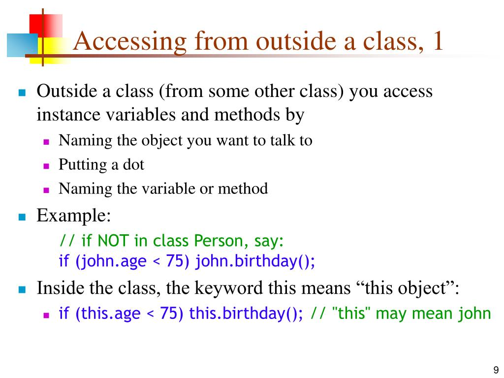 Accessing from outside a class, 1
