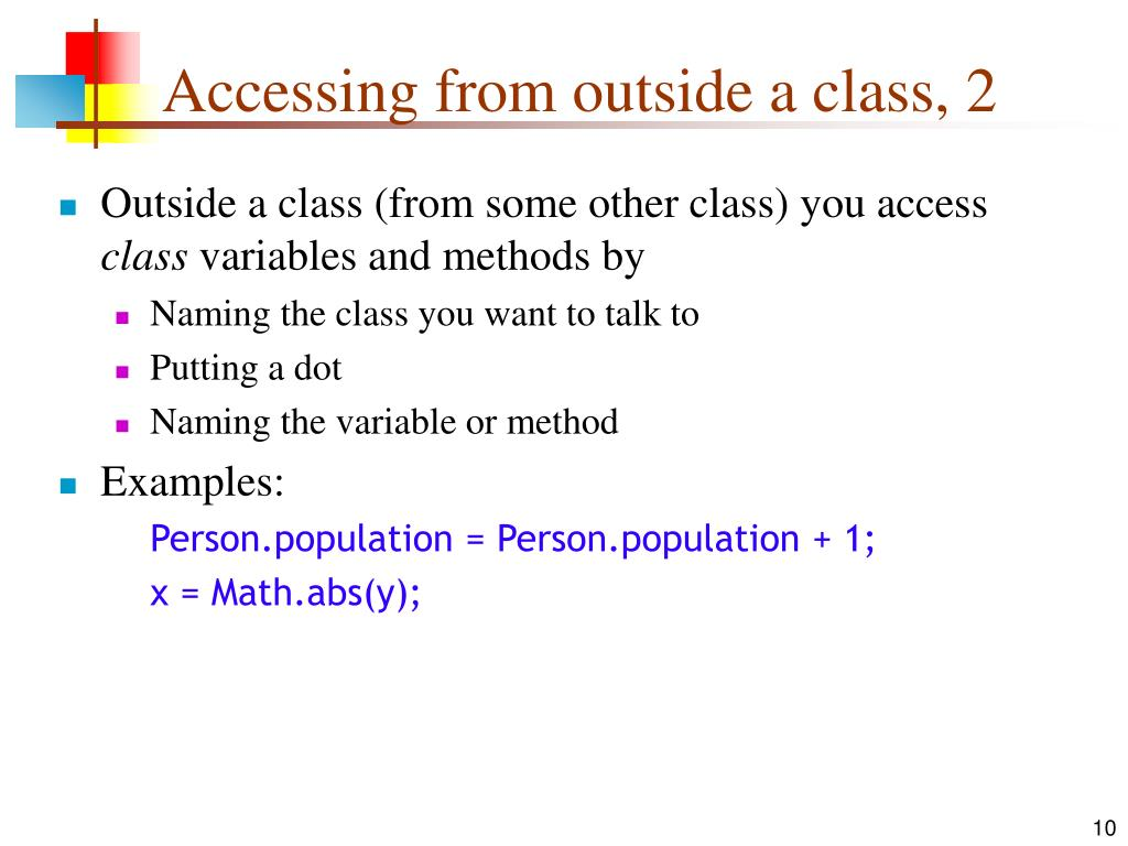 Accessing from outside a class, 2