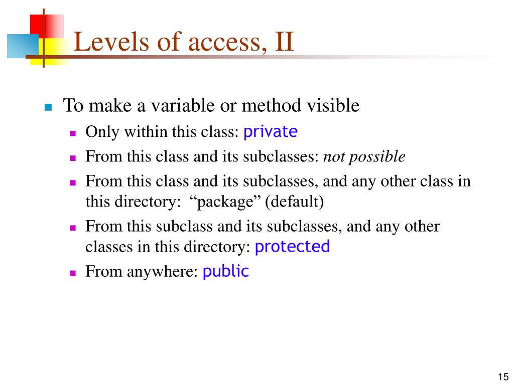 Levels of access, II