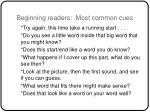 beginning readers most common cues