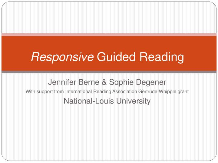 responsive guided reading n.