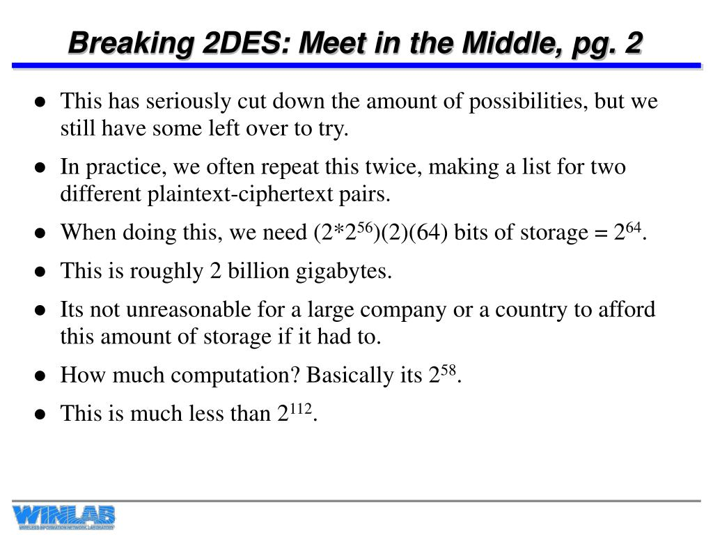 Breaking 2DES: Meet in the Middle, pg. 2