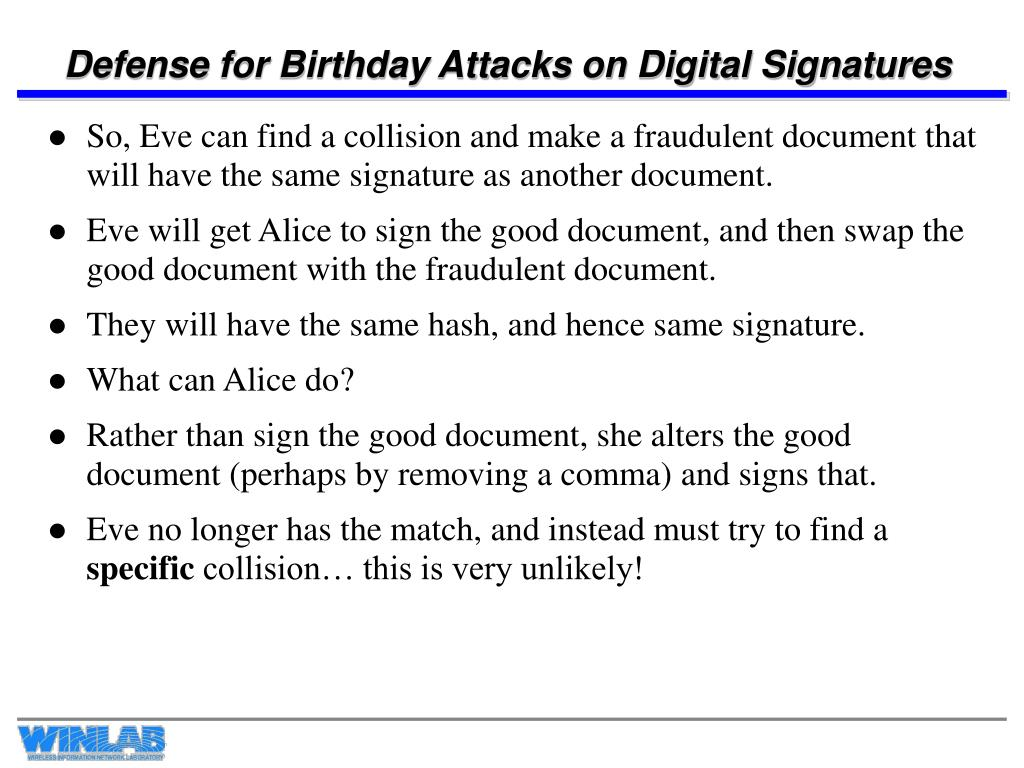 Defense for Birthday Attacks on Digital Signatures