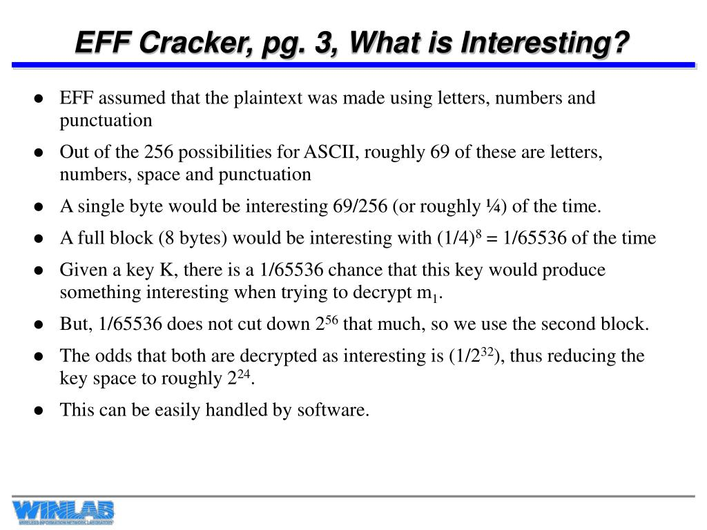EFF Cracker, pg. 3, What is Interesting?