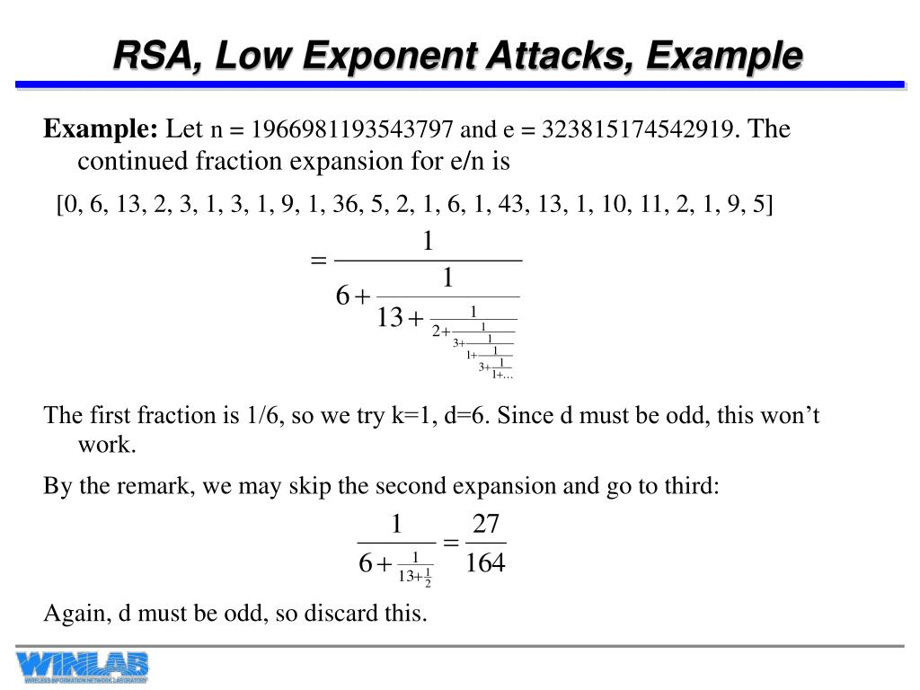 RSA, Low Exponent Attacks, Example