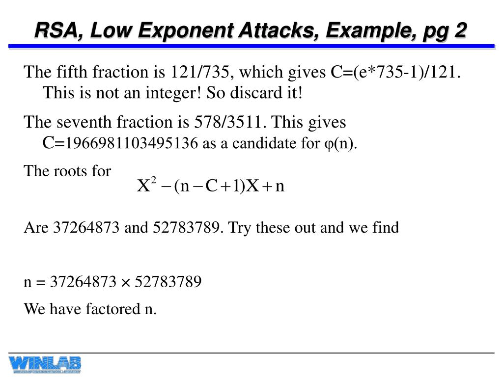RSA, Low Exponent Attacks, Example, pg 2