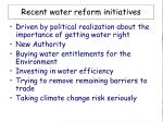 recent water reform initiatives
