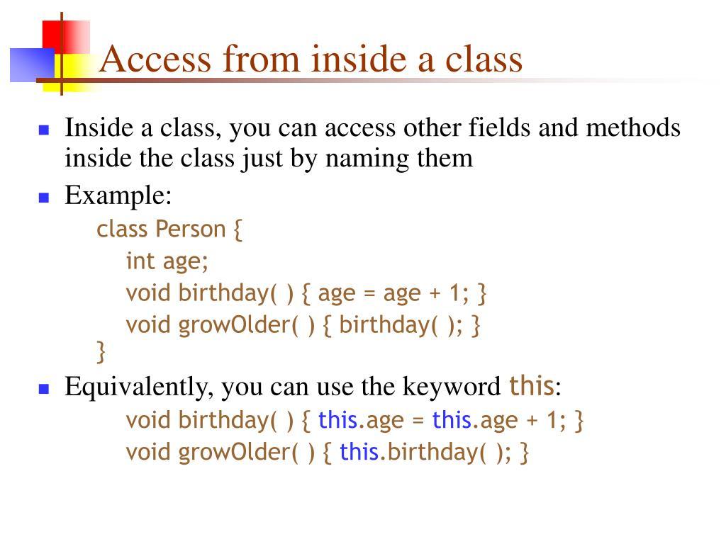 Access from inside a class