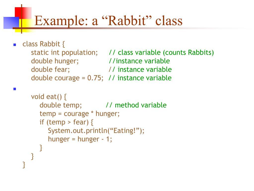 "Example: a ""Rabbit"" class"