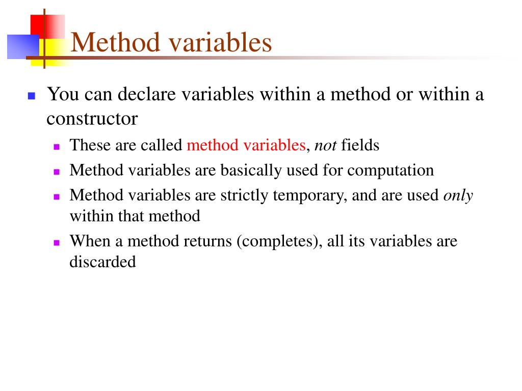 Method variables