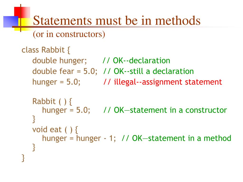 Statements must be in methods