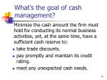 what s the goal of cash management