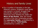 history and family lines