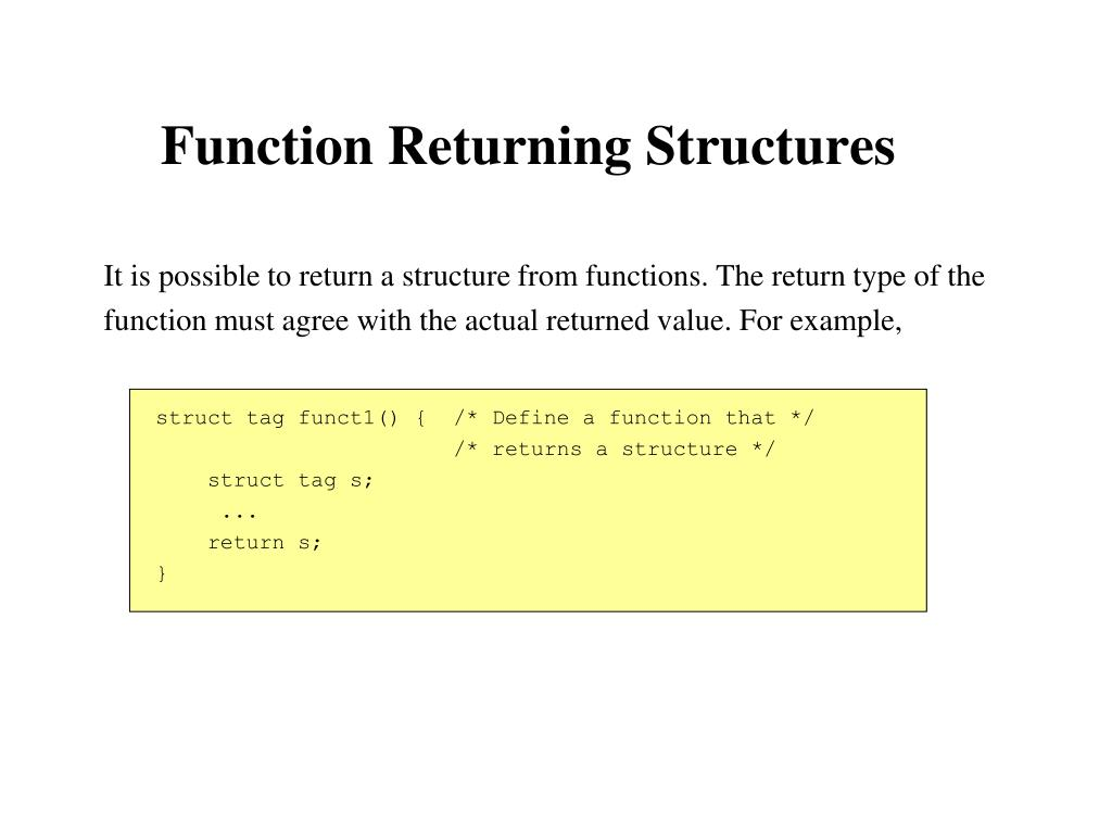 Function Returning Structures
