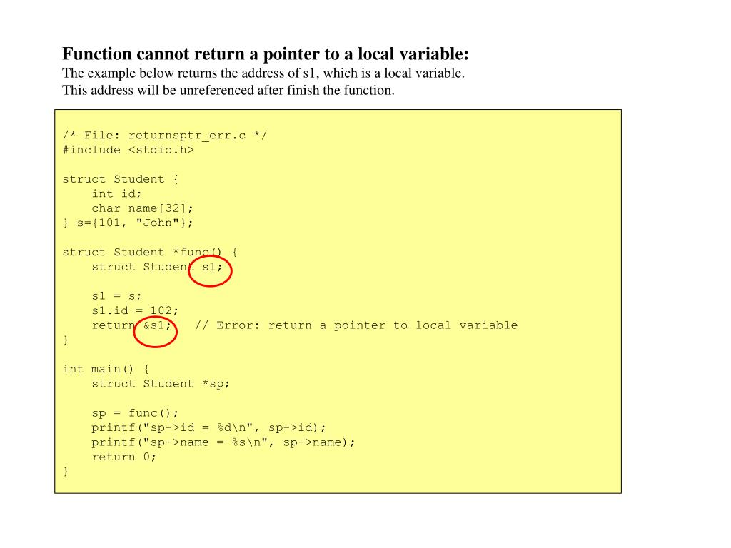 Function cannot return a pointer to a local variable:
