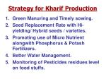 strategy for kharif production