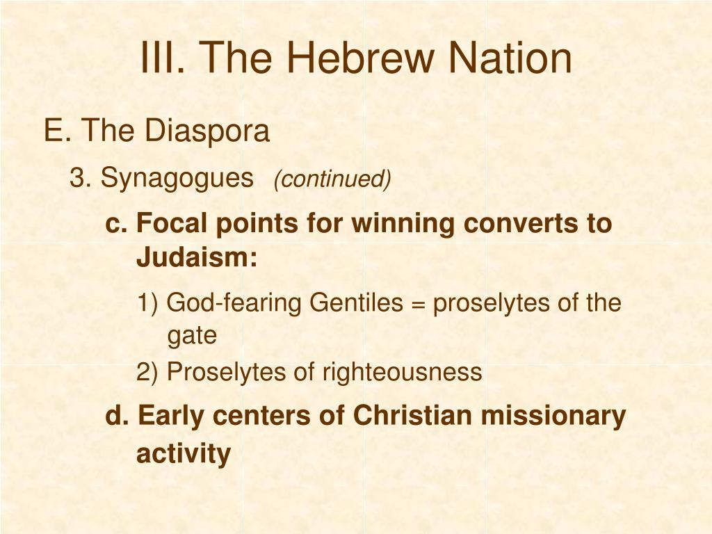 III. The Hebrew Nation