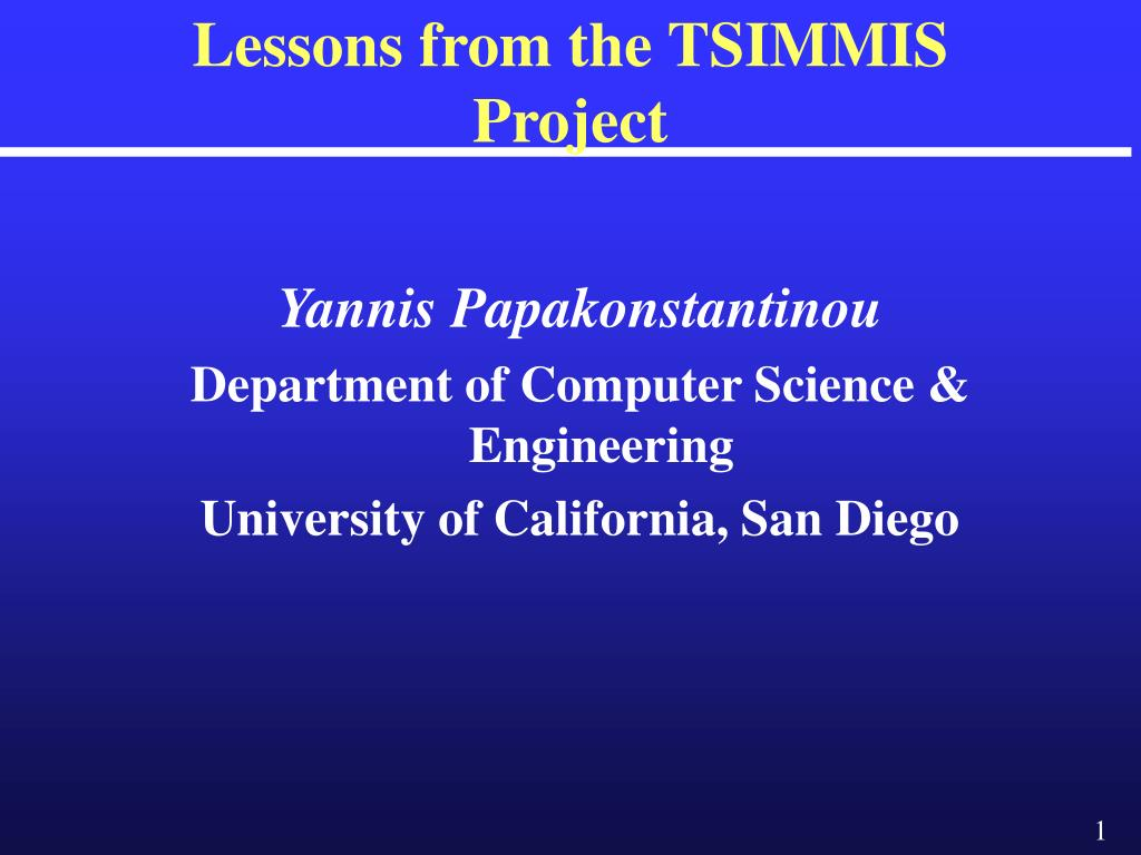 Lessons from the TSIMMIS Project