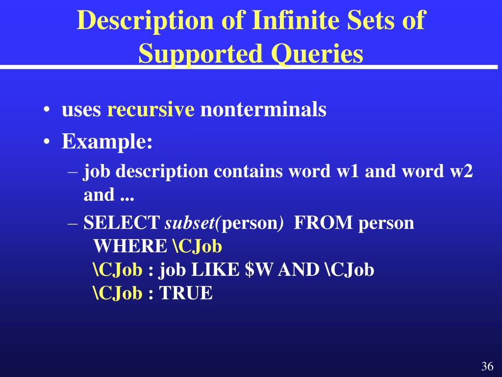 Description of Infinite Sets of Supported Queries