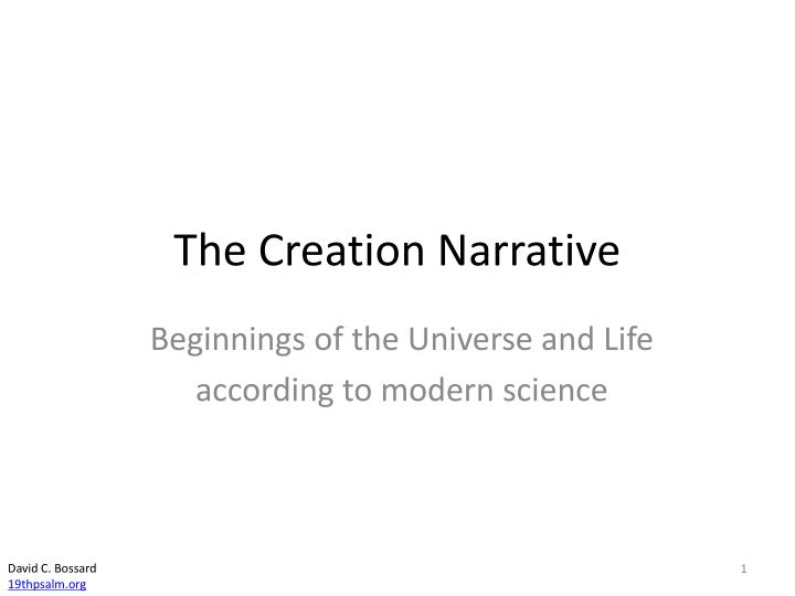 the creation narrative n.